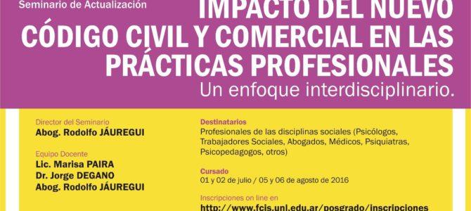 Seminario de actualización «Impacto del Nuevo Código Civil y Comercial en las Prácticas Profesionales» en Rafaela