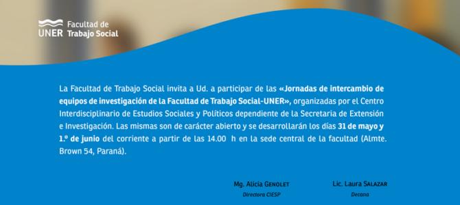 Jornadas de intercambio de equipos de investigación de la Facultad de Trabajo Social – UNER