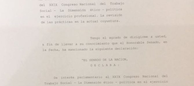 El Senado de la Nación declaró de interés parlamentario el XXIX Congreso Nacional de Trabajo Social.