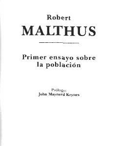 Primeros ensayos sobre población – Malthus