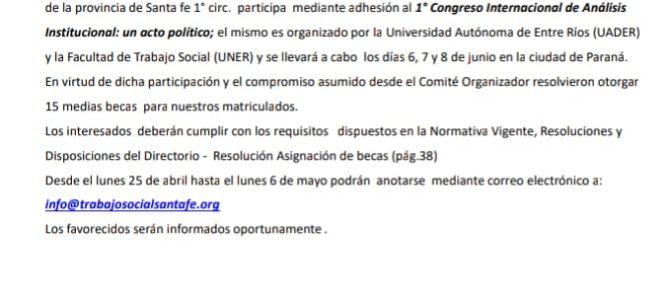 Becas: 1º Congreso Internacional de Análisis Institucional: un acto político