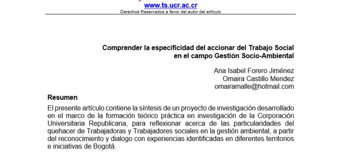 Articulo del boletín SURA de la Escuela de Trabajo Social de la Universidad de Costa Rica