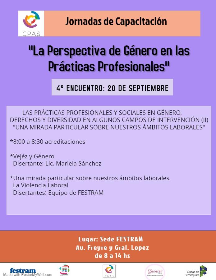 20 de Septiembre: 4 encuentro de las Jornadas de Género