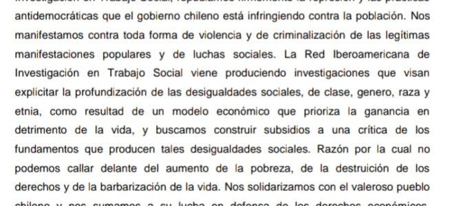 Apoyo de la Red Iberoamericana de Investigación en Trabajo Social ante la situación en Chile