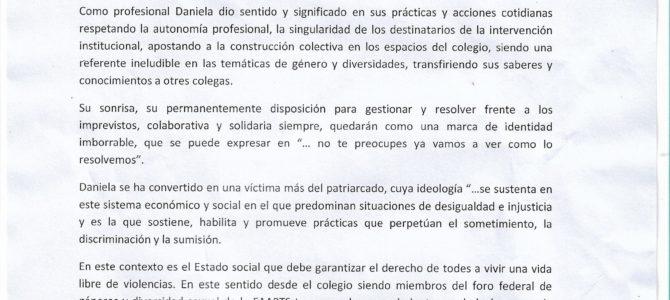 Pronunciamiento del CPAS con motivo de la concentración frente al memorial por Daniela Cejas