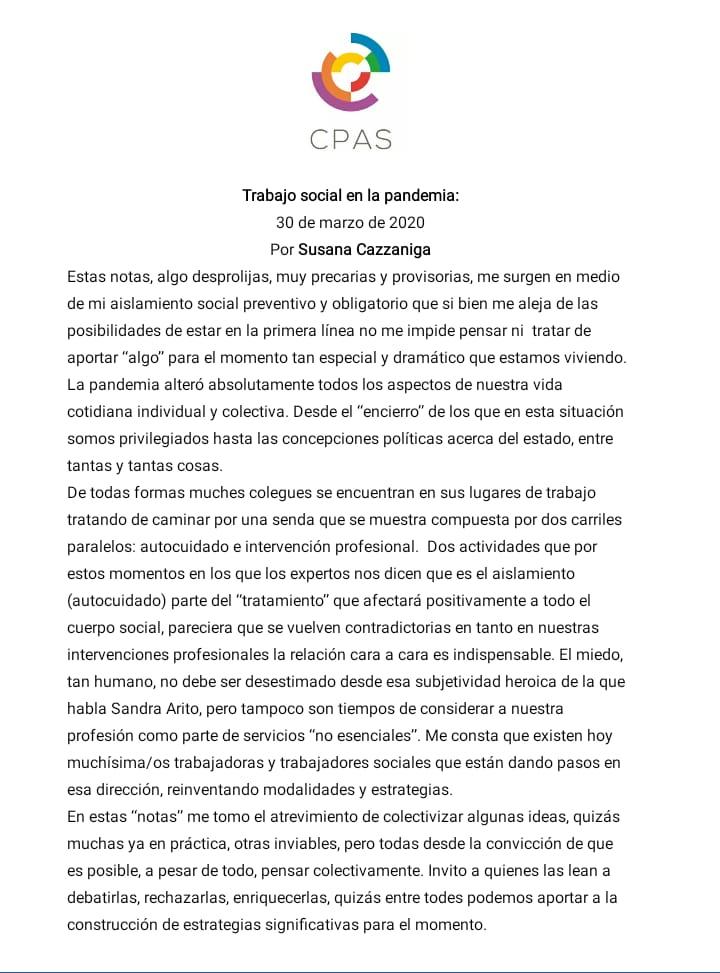 Trabajo Social en la Pandemia – Susana Cazzaniga