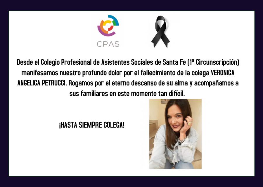 Condolencias por el fallecimiento de la colega Verónica Petrucci