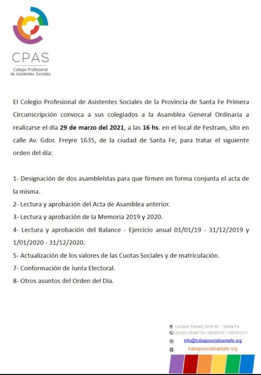 Convocatoria a Asamblea General Ordinaria