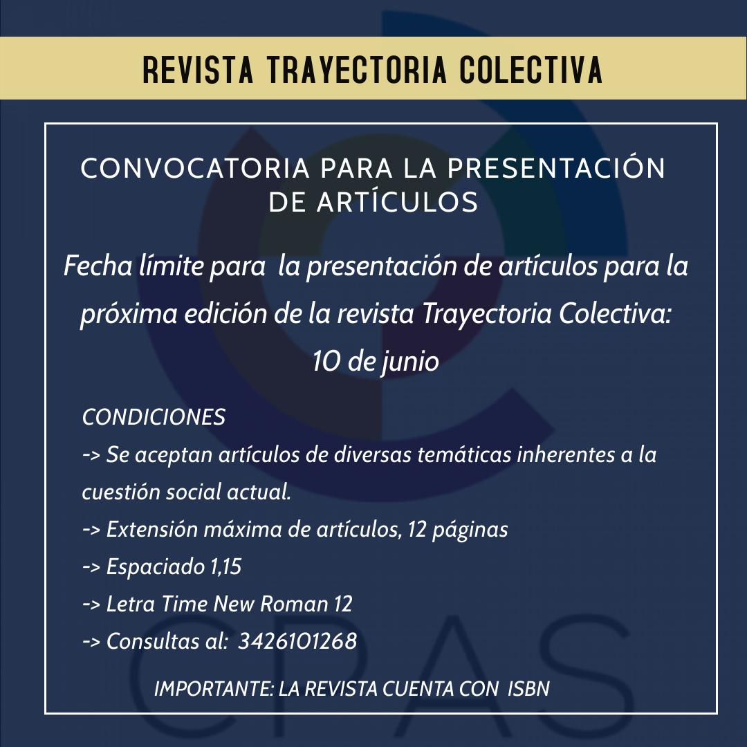 Revista Trayectoria Colectiva: condiciones para presentar artículos