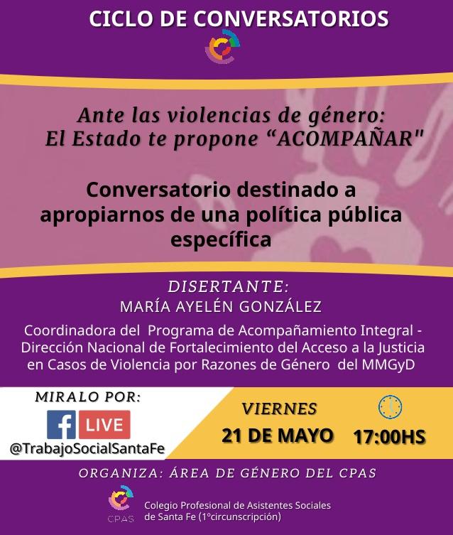 Ciclo de Conversatorios: Ante la violencia de género el Estado propone»Acompañar»