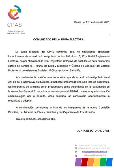 Comunicado de la Junta Electoral del CPAS