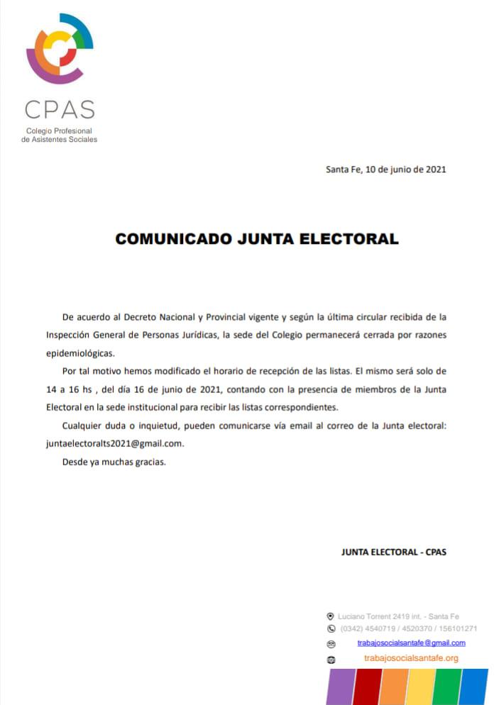 Comunicado de la Junta Electoral