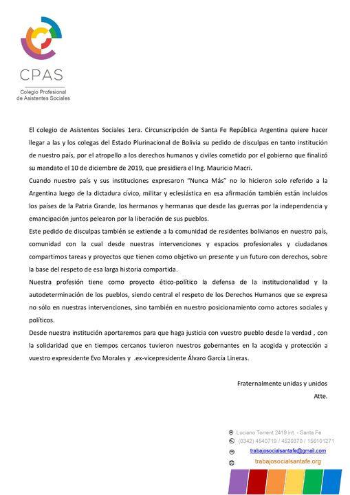 Comunicado del CPAS hacia colegxs de Bolivia
