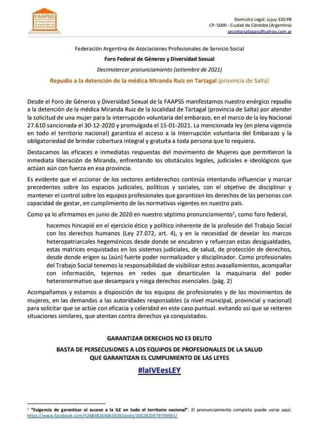 Pronunciamiento FAAPSS en repudio a la detención de la médica Miranda Ruiz